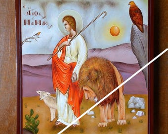 Saint Mamas (st Mammes) of Caesarea, holy orthodox icon, original hagiography, handpainted on request, Άγιος Μάμας, Святой Мамант, Икона