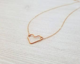 14k Rose Gold filled Heart Necklace - heart - simple jewelry