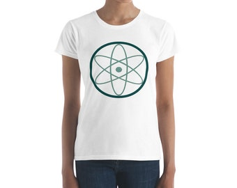 Women's short sleeve t-shirt, Atomic symbol, Geek wear, geek culture, science, Tech.   White option only.