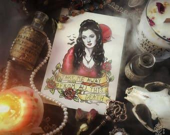 Bram Stoker Dracula Vampire Postcard Oldschool Tattoo Flash, Mina Harker Winona Ryder Gary Oldman Vintage Poster