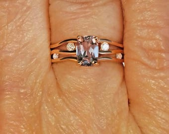 Genuine Pink Spinel Solitaire with White Diamond Accents 14k Solid Rose Gold Ring