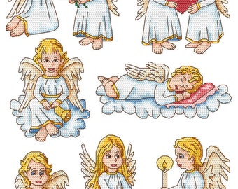 Christmas  Angels  Digital  Pdf ,  Eight funny  Angels  Counted Cross Stitch pattern in PDF  , Painting,  Very easy , Modern