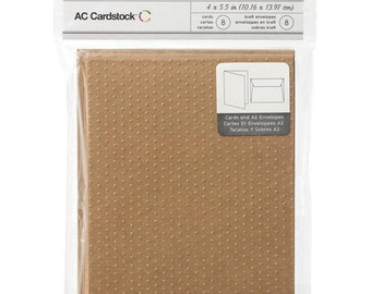 Swiss Dot Embossed Brown Kraft Paper Blank Cards and Envelopes A2 Size - 8 Sets by American Crafts