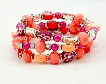 Stacks of Flowers, 3 Stacking Bracelets, Women's Accessories, Fashion Jewelry, Handmade, Chic Bracelets, One of A Kind, Great Gifts,
