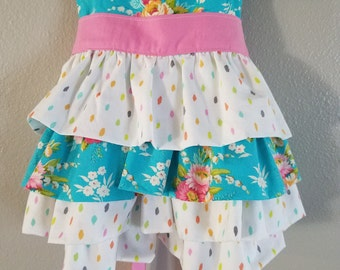 Girl's Ruffle Top with Sash, Made To Order