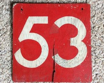 VINTAGE RAILROAD SIGN 53, painted wood, shabby, funky, ooak display