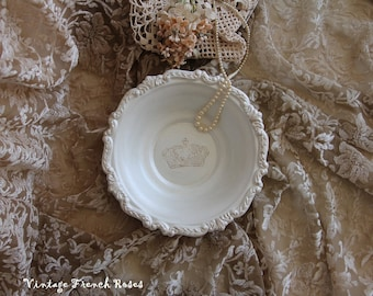 French Crown Champagne Cream Metallic Round Serving Dish Tray Vintage Romantic Wedding Shower French Country Shabby Chic Cottage Style