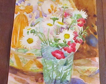 1933 American Impressionist Watercolor Still Life Painting Flowers Homer F. Pfeiffer Connecticut Artist