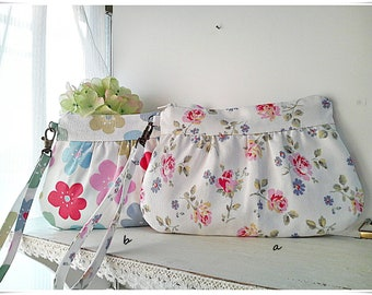 Pleated clutch, wristlet gathered purse zip pouch, 2 way Cath Kidston cotton canvas