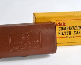 Vintage Kodak Leather Combination Filter Case in Original Box