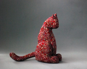 Red cat. Soft sculpture. Paisley.