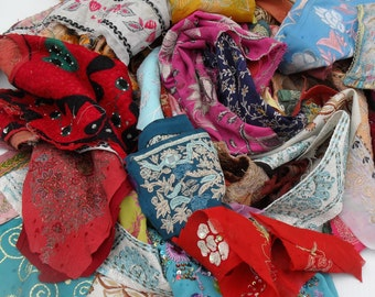 Indian fabric pack textile recycled embroidery. 55  pieces