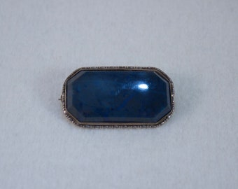 1930's Germany Sterling and Lapis Victorian Styled Brooch