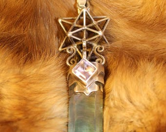 Star Tetrahedrion with Amethist in Sterling silver holding Amazing Aqua Aura Pendant Stunning piece!