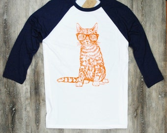 Womens TShirt - Hipster Cat Tee - Screen Printed - Womens Baseball Tees - Animal T-shirts - Baseball Tees for Women - Gift for Her