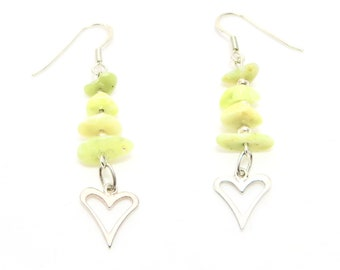 Iona Greenstone Four Stone Earrings with Silver Open Hearts