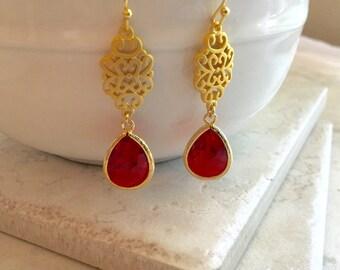 Earrings Bridesmaid Gift July Birthday Bridesmaid Earrings Red Earrings Bridesmaid Earrings Red Dangle Earrings Bridal Earrings Gift