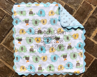 Girls or Boys Baby Lovie with Embroidered Newborn Statistics (can be made in other fabric colors)