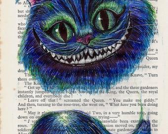 Cheshire Cat Biro Art A3 Print, Black Diamond Canvas Paper.  Alice in Wonderland Fan Art