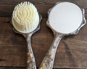 Vintage Brush and Mirror Set/Shabby Chic Brush and Mirror Set/Silver Plated Floral Embellished Brush & Mirror Vanity Set/Patina Brush Mirror
