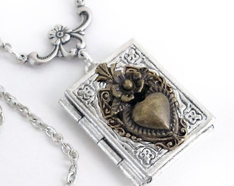 Matters of the Heart - Silver Book Locket Necklace Jewelry by Gypsy Trading Company