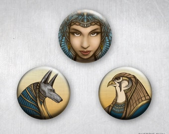 Queen Hatshepsut, Anubis and Horus, Ancient Egyptian Mythology Gods, Pinback Buttons, Original Art & Design, 1.25 inch, Set of 3