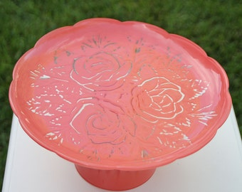 Cake Stand Coral Vintage Reclaimed Serving Platter Made to Order