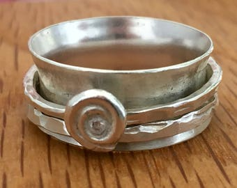 Sterling silver spinning ring, spinning ring, swirl, circles, silver spinner ring, big ring, size z, extra large ring, silver spinning ring