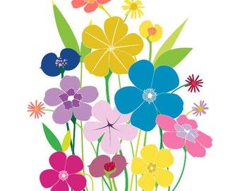 Colorful Print Wall Art - Born Wild - Happy art,Colorful Print, wild flower illustration, 8x10, art, nature,colorful art, colorful wall art