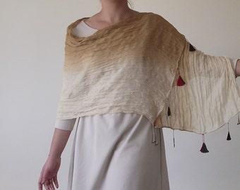 Cotton Scarf, Tie Dye Shawl, Crochet Scarf, Foulard, Ombre Scarf, Wrinkled Wrap Scarf, Beaded Scarf, Oya Lace Foulard, Women's Mom's Gift