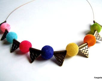 Crystal multicolored velvet and brass on copper wire triangles necklace