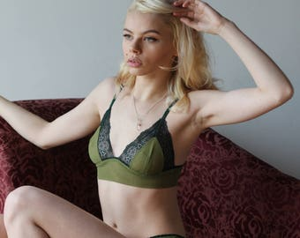 womens mesh bralette with lace trim - CUPID - sheer mesh lingerie range - made to order
