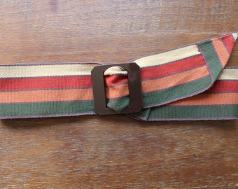 Vintage 60s/70s Style Striped Adjustable Waist Belt