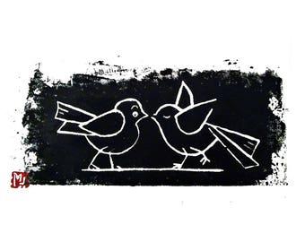 linocut, linocut, room decor kids decor, illustration, original, bird, painting for coasters