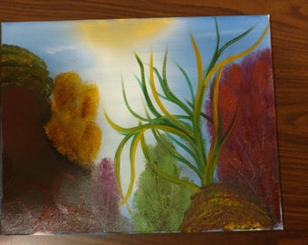 Underwater wet on wet oil painting
