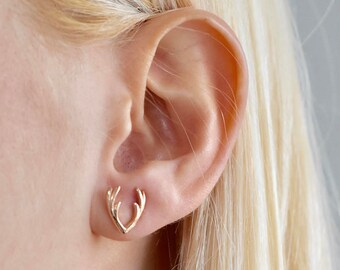 Antler Stud Earring - Antler Studs - Deer Antler - Antler Earring - Deer Jewelry - Stud Earring - Bridesmaid Gift - Mothers Day Gift