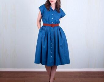 80's does 50's Blue Shirt Dress Button up Cotton Elastic Waist Full Skirt Hipster Medium Large
