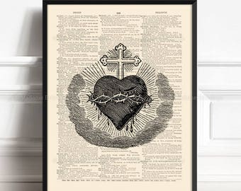 Bleeding Heart, Priest Gift, Sacred Heart Tattoo, Gothic Print Gift, Dorm Decor, Thorns Print, Christmas Gifts, Gift for Her 30th 223