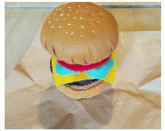 Felt play food - burger - soft toy burger