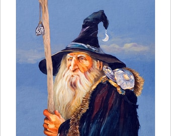 """Wizard and Turtle Print - """"The Navigator"""" - 8x10 Fantasy Illustration Reproduction"""