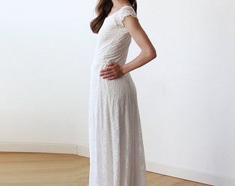 Maxi ivory lace bridal gown, Lace off-shoulders maxi wedding dress 1142