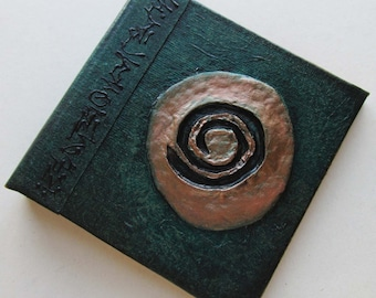 Handmade Refillable Journal Green Spiral  4x4 OOAK Original