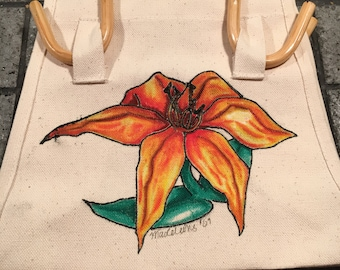 Hand painted Lily handled purse