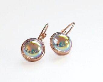 Rose gold crystal earrings - bubble earrings - clear ab earrings - bridesmaid earrings - wedding jewelry