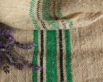 E 306: antique grainsack BLACK and GRASS GREEN, holiday feeling,cushion, 40.16long; 리넨;  french lin, vintage, decoration,