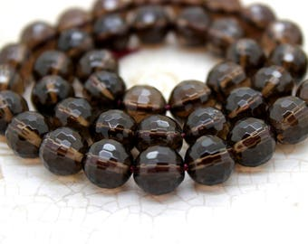 Natural Smoky Quartz Faceted Round Beads Natural Gemstone (4mm 6mm 8mm 10mm 12mm)