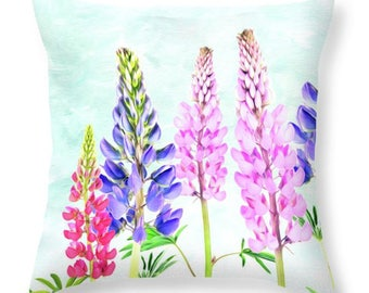 Floral Throw Pillow, Accent Pillow, Pink and Blue Lupine, Lupine Art, Flower Art, Pillow Cushion, Home Decor, Couch Pillow, Pink and Blue