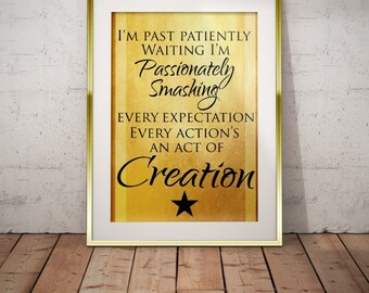 Hamilton Musical Quote Action Act of Creation Typography Poster Print