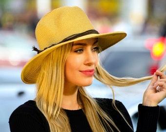 Fedora Straw Hat SPF Wide Brimmed Hat Summer Hat Spring Fashion Beach Hat Spring Accessories Straw Fedora Sunblock Hat Everyday Straw Hat