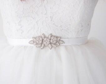 ZAHARAH Sash Silver Floral Bridal Belt, Wedding Leaf Ribbon Sash Tie (#503)